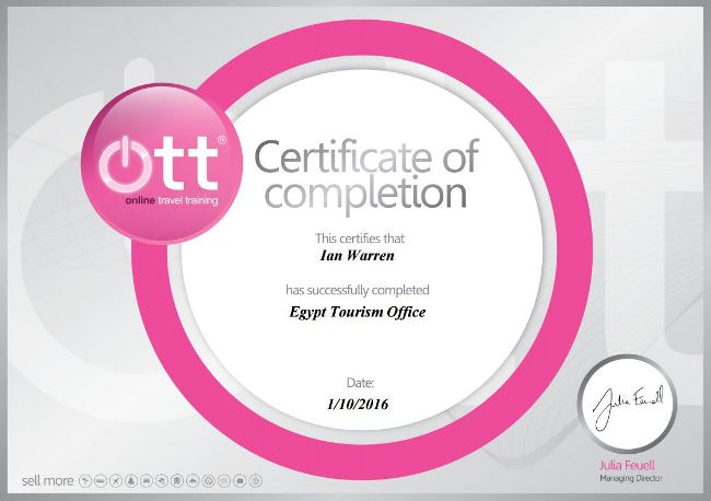 Eygpt Tourism Certificate January 2016